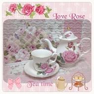 ~愛戀玫瑰園~愛戀粉玫瑰蕾絲茶壺/茶杯保溫罩 新品…