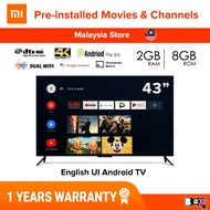 """[English UI] Xiaomi MI Smart TV 32"""" / 43 / 55 / 65 Inch 4K UHD HDR / HD Android TV Television Android 9.0 1GB/2GB + 8GB Built-In CHROMECAST + DTS/Dolby Audio 10W/20W speaker"""