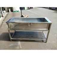 桃園國際二手貨中心---9成新 正304不鏽鋼 白鐵訂製款洗手槽 水槽 工作水槽 大水槽