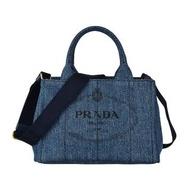 【PRADA 普拉達】PRADA經典印刷黑字LOGO亞麻帆布手提斜背包(丹寧藍)