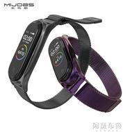 錶帶 適用小米手環5/4/3腕帶磁吸錶帶小米手環3/4/5NFC腕帶金屬編織米蘭