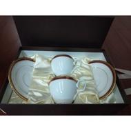 Noritake 華漾風華骨瓷咖啡對杯  質感高雅的金邊紅色咖啡杯(對杯/二杯二盤)