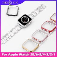 Bling Diamond Protective Case For Apple Watch SE 6 5 4 40MM 44mm Case For Apple Watch Series SE 6 5 4 3 2 1 38MM 42mm Aluminum Metal Cover