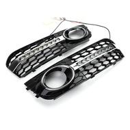 AUDI 專用前保桿霧燈框適用 A4 B8 2009-2011附日行燈帶流水型方向燈功能-極限超快感