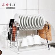 【品愛生活】時尚扁管304不鏽鋼雙層碗盤瀝水架(免組裝)