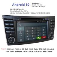2DinรถมัลติมีเดียPlayer Android10 DVD PlayerสำหรับMercedes Benz/E-Class/W211/E300/CLK/W209/CLS/W219 GPSวิทยุUSB PC