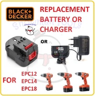 REPLACEMENT SPARE PART BATTERY BATERI BLACK DECKER CORDLESS DRILL DRIVER BATTERY CHARGER EPC12 EPC14100K EPC12K2 EPC14 EPC18 EPC96 BATERI BATTERY 12V 14.4V 18V BATERY SPARE PART REPLACEMENT