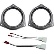"DKMUS 6.5"" Car Door Speaker Mount Adapter Plates for Toyota Venza Solara RAV4 Camry Celica Echo Corolla Highlander 4 Runner Tundra Sequoia Yaris Prius Avalon Stand Ring Kit 1 Pair + Wiring Harness"