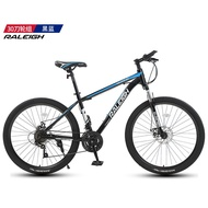 Raleigh Mountain Bike 24speed Disc Brake Shock Absorption Boys And Girls Fitness Cross Country Racing Car 21 Speed High Carbon Steel Black Red Wheel 24/26 Inch