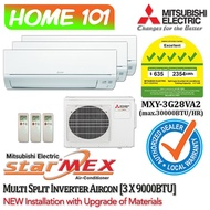 Mitsubishi StarMex MSXY-FN Series Multi-Split AirCon [System 3] Avaliable in MXY-3G28VA2 [FN10VE(1 HP) x 3] WITH *New Installation with Upgraded Materials Services*