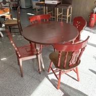 盡其用二手家具生活館 DIY鄉村風實木餐桌椅組/三尺半餐桌/圓型餐桌/(一桌四椅) 自取價4800