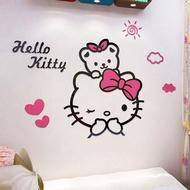 {全蝦皮最便宜}Hello Kitty 壓克力立體壁貼 3D壁貼 可愛牆貼 愛心臥室立體牆貼