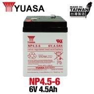 [YUASA] NP4.5-6鉛酸電池~6V 4.5Ah 兒童玩具車電池/等同NP4-6加大容量*CSP進煌*