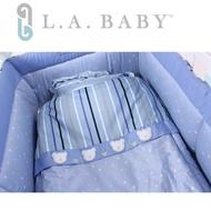 【L.A. Baby】點點暖心熊純棉七件組-M(MIT 藍色 粉色)