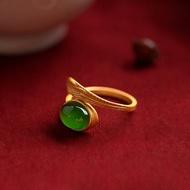 天然碧玉羽毛戒指純銀鍍金女款和田玉指環復古中國風玉開口金戒指