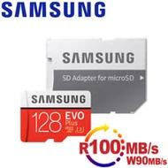 Samsung三星 microSDXC 128GB R100/W90MB UHS-I U3 EVO+高速記憶卡-含轉卡-加送晶片讀卡機OP-R03
