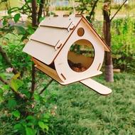 บ้านนกทำจากไม้กล่องเพาะพันธุ์ไม้,กรงใส่อาหารในสวนหลังบ้านนกกรงระเบียงรั้วกั้นสำหรับสัตว์เลี้ยงนก