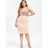Y217 Sequined Combo Plus Size Party Dress