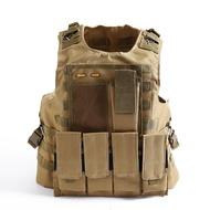 軍迷戰術背心特種兵迷彩馬甲真人CS防彈衣戶外運動多功能防護裝備1入
