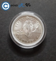 1945 50 Centavos Brilliant UNCIRCULATED  Silver(.750) Coin Collections  Philippines Commonwealth Series  in Coin Capsule