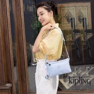 【KIPLING】棉花糖藍雙內袋斜背小包-MIKAELA