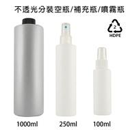 HDPE 2號 分裝噴瓶 酒精 次氯酸水 消毒水 乾洗手 分裝噴霧空瓶 100/250/1000ml 不透光