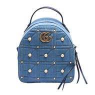【GUCCI 古馳】GG Marmont系列仿舊金色珍珠雙G LOGO單寧布拉鍊手提/後背包(牛仔藍476671-9B53T-4381)