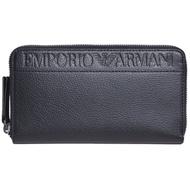 EMPORIO ARMANI 經典字母老鷹圖騰壓紋LOGO拉鍊長夾(黑)