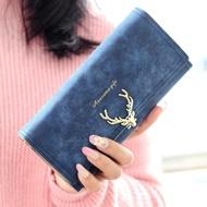 日韓磨砂鹿角鎖扣3折長夾 時尚搭扣學生卡通錢包 女生錢夾皮夾
