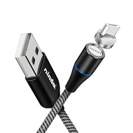 Nisda Micro USB 3A磁吸編織充電線-白