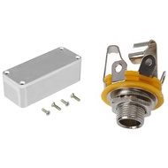 Stereo Output 1/4 inch 6.35mm Jacks Socket for Electric Guitar Switch & Diecast Aluminium Electronics Project Box Case