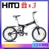 【Spot Goods】AuthenticHito Foldable Bicycle SHIMANO 6-Speed Bicycle High Carbon Steel Frame V Brake Folding Bicycle Weeke