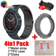 4in1 strap for Amazfit T-rex pro smart watch Band Amazfit T-rex pro   Tempered film stainless steel Bracelet for amazfit T REX PRO case cover glass screen protector