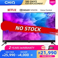【4K UHD】CHiQ [U50H7K] 50 Inch (126cm) LED Frameless Smart TV Android 9.0-Voice control Dolby Vision HDR10-Dolby audio-forward-facing speakers -2x10W 2x10W Speaker Output-Netflix-Youtube-Amazon Prime Video-Black TV 50H7K【Free Bracket & Voice Remote】
