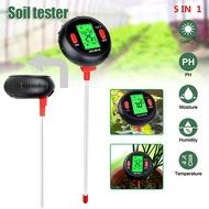 L-warm Penguji Suhu Tanah LCD, Alat Pengukur Uji PH Kelembapan Tanah Digital 5 In 1 untuk Halaman Rumput Taman