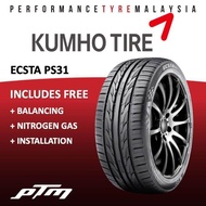 Kumho Ecsta PS31 Tyre 15 16 17 18 inch with (FREE INSTALLATION) 195/50R15 195/55R15 195/50R16 205/45R16 205/50R16 215/45R17 205/40R17 205/45R17 225/45R17 235/45R17 225/50R17 215/50R17 215/55R17 225/40R18 225/45R18 225/50R18 235/50R18 235/45R18 245/45R18