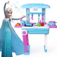 เด็กเล่นตารางสาวเจ้าหญิงแช่แข็งของเล่นสำหรับแต่งตัวสาวโต๊ะเครื่องแป้งกระเป๋าเดินทางชุดของขวัญ Micky Sophia Elsa