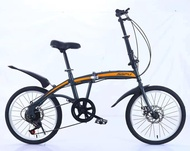 China 20-inch variable speed double disc brake folding bike outdoor cycling alloy wheel integrated highway mountain bike