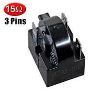 3 Pins 15 โอห์มตู้เย็น PTC รีเลย์สตาร์ทเตอร์สีดำ/คอมเพรสเซอร์รีเลย์
