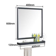 Stainless Steel Black Bathroom Mirror Mirror Cabinet with Shelf Wall Mounted Bathroom Makeup Mirror Toilet Combination - intl