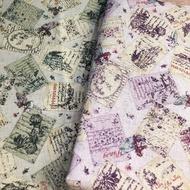 日本進口棉麻布- Petit Brocante花草便簽圖案金蔥棉麻布款【棉麻布】