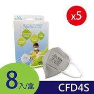 【凱騰】 GRANDE防霾│工業歐規FFP1-CFD4S│3D立體活性碳口罩│8片/盒(5入組)