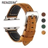 สายนาฬิกาหนังแท้สำหรับ Apple Watch,สายนาฬิกาแฮนด์เมด Crazy Horse สำหรับ Apple Watch 6 5 4 3สายนาฬิกาสปอร์ตอุปกรณ์เสริมพร้อมหัวเข็มขัดเหล็ก