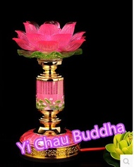 Temple ornaments acrylic crystal led before electric lights Colorful Lotus Buddha Buddha lamp for lo
