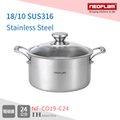 韓國NEOFLAM-皇家頂級316不銹鋼 24cm湯鍋+玻璃鍋蓋 (NF-C019-C24)