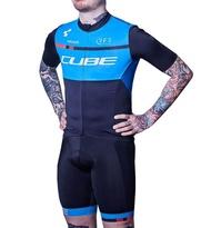 Team Cube Blue MTB Mountain Bike Breathable Short Sleeve Cycling Jersey And Bib Shorts Set