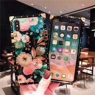 European Luxury brand for OPPO F9/A7X F7 A5/A3S A59/F1S A39/A57 A83 A75 A73/A79/F5 R17 Pro R17 R15 Pro R11S Plus F3 PLUS r9s Case fashion rose flower stand holder metal square blue light phone case
