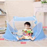 Hot Foldable Baby Crib With Mosquito Net Cotton-padded Mattress Pillow Tent Bed