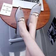 SF ใหม่ล่าสุด!!รองเท้าคัชชูหัวแหลม รองเท้ายางส้นสูง ยางนิ่ม คัชชูเจลลี่ (มี4สี สินค้าพร้อมส่ง)