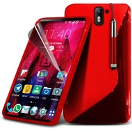 Gadget Giant® OnePlus 2 (ONE PLUS 2) Super Quality S-Line Hydro Silicone S line Skin Cover Pouch with Screen Protector & Retractable Stylus Pen - Red